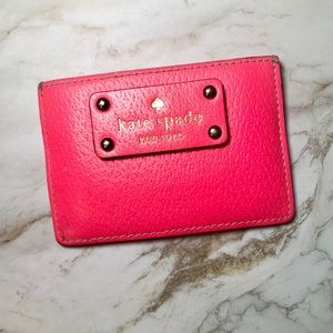 Kate Spade Hot Pink Gold Studded Card Holder